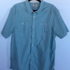 VANS Blue Green Microstripe Button Down